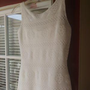 White sheer mini dress with slip